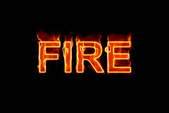 Fire (Text serie). A fired word/phrase from a text effect serie isolated on a black background Stock Image