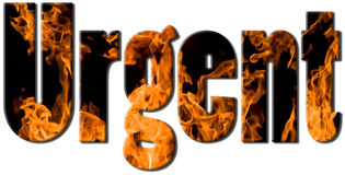 Fire text - urgent. Urgent text filled with an image of massive heap of hot flames Stock Photo