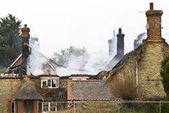 Fire in a Thatched Cottage Royalty Free Stock Photos
