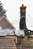 Fire in a Thatched Cottage Stock Image