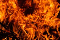 On fire. Themes of fire, disaster and extreme events. Background with copy space. For text royalty free stock photo