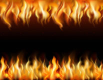 Fire Tileable Borders Set. Fire tileable realistic borders set on black background  vector illustration Royalty Free Stock Images