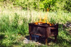The fire in the time-worn brazier on green plants backgroun. Close-up stock photo