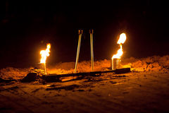 Fire tin stick Royalty Free Stock Images