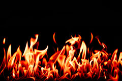 Fire tongues. Isolated on black wild fire tongues photo Royalty Free Stock Photography