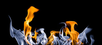 Fire tongues. Long blue amd orange fire shot in panorama format Stock Photo