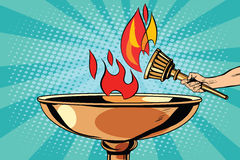 Fire torch bowl of fire. Pop art retro style. Antique fire. Sports fire. Vector torch Royalty Free Stock Photo