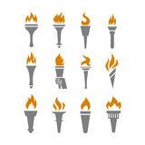 Fire torch with flame flat icons set Stock Photography