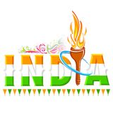 Fire torch in India background. Illustration of fire torch in India background Stock Photo