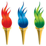 Fire Torch Logo. A colourful flame fire torch logo icon set Royalty Free Stock Photo