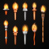 Fire Torch Realistic Set. Torch realistic set with isolated hand cresset images of various shape with flame on transparent background vector illustration vector illustration