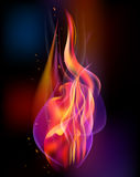 Fire torch vector colored sparks burn.  Royalty Free Stock Images