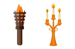 Fire torch victory champion flame icon vector illustration. Royalty Free Stock Image