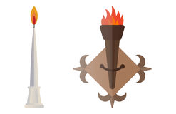 Fire torch victory champion flame icon vector illustration. Royalty Free Stock Photos