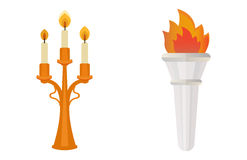 Fire torch victory champion flame icon vector illustration. Royalty Free Stock Images