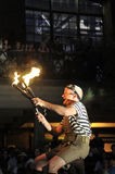 Fire torches at the buskerfest festival. Stock Images