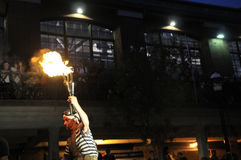 Fire torches at the buskerfest festival. Stock Image