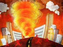 Fire tornado. Illustration of fire vortex, tornado in the city background Royalty Free Stock Images