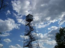 Fire Tower. An old-school tower used to spot forest fires back in the day Stock Photos