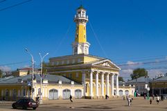 The Fire Tower in the Kostroma city. The Fire Tower in Kostroma city and a blue sky Stock Photo