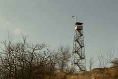 Fire tower at Mount Beacon. This fire tower in mount Beacon was restored and opened to the public in 2013 Royalty Free Stock Photos