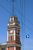 Fire tower on the Nevsky prospect in Saint-Petersburg city, Russia. Stock Images