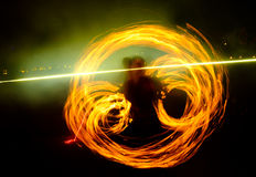 Fire traces of the show Royalty Free Stock Photography