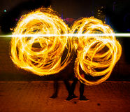 Fire traces of the show Royalty Free Stock Images