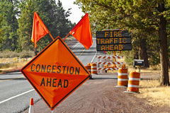 Fire Traffic Congestion Ahead Signs Stock Images