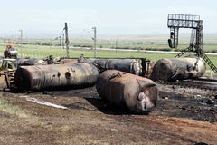 FIRE IN TRAIN. KILKIS,GREECE - MAY,10: Wagons ruins after fire disaster on May 10, 2007 in Aspros Kilkis, Greece Stock Photography