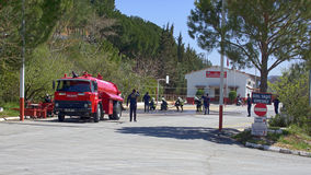 Fire training at the firehouse. Turkey , Mugla - April 14, 2017: fire training at the firehouse Stock Photography
