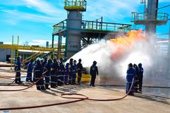 Fire training team fighting Thailand stock images