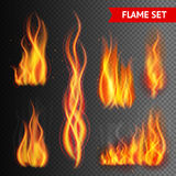 Fire on transparent background. Fire flame strokes realistic isolated on transparent background vector illustration Stock Images
