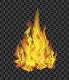 Fire on Transparent Background. Vector. Realistic Bright Fire Flames on Transparent Background Light Effect for Web Design. Vector illustration Stock Photos