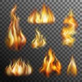 Fire Transparent Set Royalty Free Stock Photography