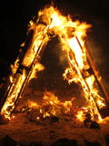 Fire triangle. Fire traingle on the holiday of Lag Ba`Omer Royalty Free Stock Photo