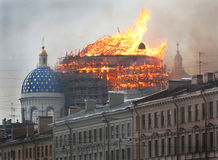 Fire in the Trinity Cathedral Royalty Free Stock Photos