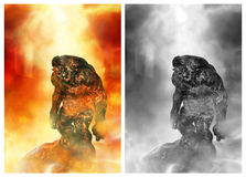 Fire Troll. Fantasy creation for your artistic creations and/or your projects Stock Photo