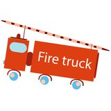 Fire truck. Stylized toy isolated on white background; abstract vector art illustration Royalty Free Stock Photo