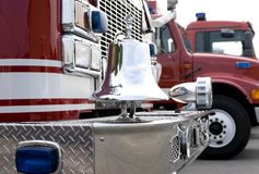 Fire Truck 2. The front of a fire truck with chrome trim and bell royalty free stock photo