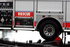 Fire Truck. A photograph of a fire truck one rainy day stock photo