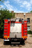 Fire truck. View from the rear of a small fire truck stock image