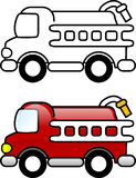 Fire Truck. Printable coloring page for children or can be used as clip art Royalty Free Stock Photos