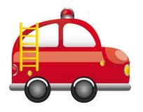 Fire truck. Red fire truck with ladder cartoon vector illustration Stock Image