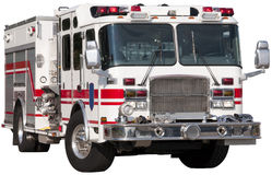 Fire truck. Cut out of the fire truck on white background stock photos