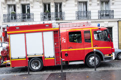 Fire truck. A fire truck in Paris - France Royalty Free Stock Image