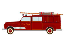 Fire truck. Vintage fire truck with a ladder on a white background. Vector Stock Photography