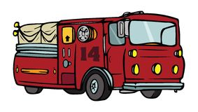 Fire truck. Cartoon illustration of fire truck Stock Photo