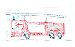 Fire truck. Child drawing of a fire truck made with wax crayons Royalty Free Stock Photography