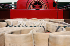 Fire Truck. The bed of an old fire truck with hose Stock Photos